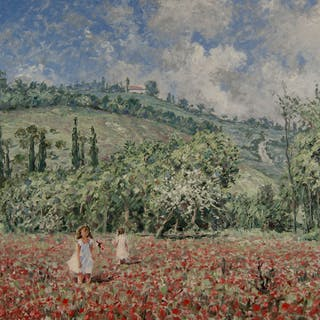 "Chris van Dijk (1952) -"""" Children playing in a poppy field """""