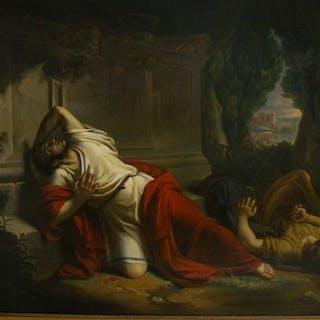 """V. Camuccini ( attr. a ) - """"Sacrificio""""- Morte di Nerone(?)"""