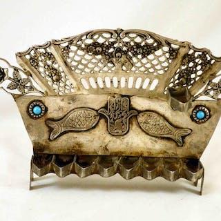 Hannukiah - .840 silver - Tunisia - Early 20th century