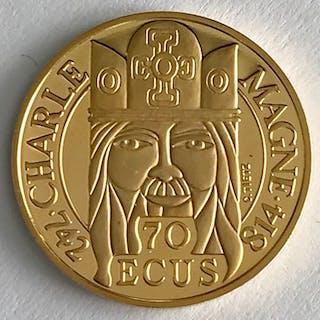 France - 1990 - 500 Francs / 70 Ecus - Charle Magne - Gold