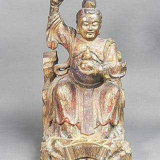 Figure, Statue - Gilt lacquered wood, Lacquered wood - China - 17 / 18th c