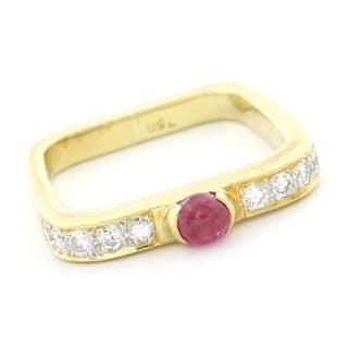 18 kt. Yellow gold - Ring - 0.33 ct Diamond - Ruby