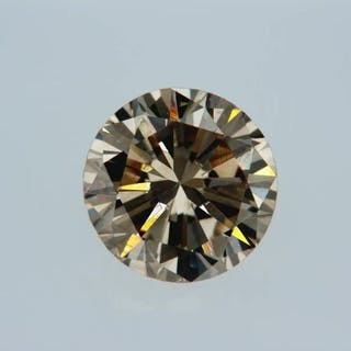 1 pcs Diamond - 0.78 ct - Round - fancy light brown - VVS2