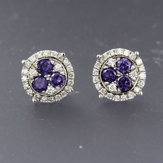 18 quilates Oro blanco - Pendientes - 0.50 ct Diamante - Amatista