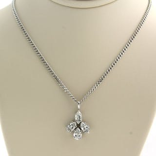 18k collier, 14k hanger White gold - Necklace with pendant - 1.00 ct Diamond
