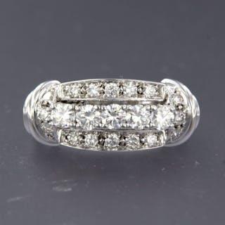 14 kt. White gold - Ring - 1.01 ct Diamond