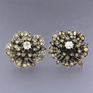 14k geel goud met zilver Z2 Silver, Yellow gold - Earrings - 3.00 ct Diamond