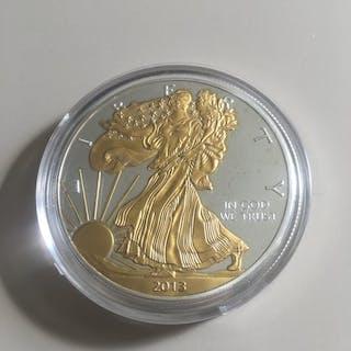 USA - 1 Dollar 2013 - Silver Eagle - 24k gold gilded - 1 Oz - Silber