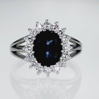 14 kt. White gold - Ring, Diana - 4.78 ct Sapphire - Demantoid