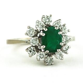 Exclusive Antique - 18 kt. White gold - Ring Emerald - Diamond