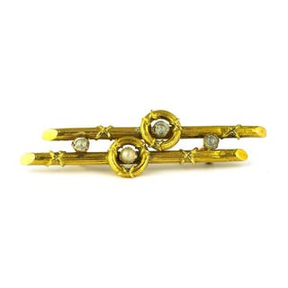 Authentic Antique - - 18 kt. Yellow gold - Brooch Pearl