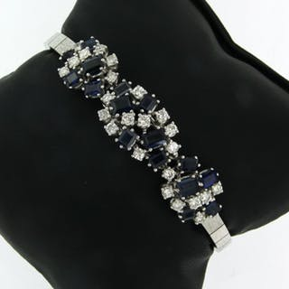 18 kt. White gold - Bracelet - 1.50 ct Diamond - Sapphire