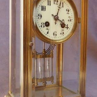 Pendule cage - Laiton, Marbre, Verre - Première moitié du XXe siècle