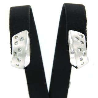 18 kt. White gold - Earrings - 0.22 ct Diamond