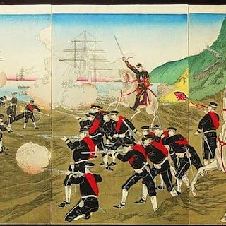 Original Holzschnitt-Triptychon - Toyohara Yoshu...