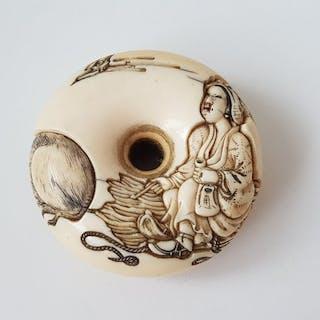 "Manju Netsuke - Ivory - "" Lady & Bull "" - Japan - ca. 1870-80 (Meiji period)"