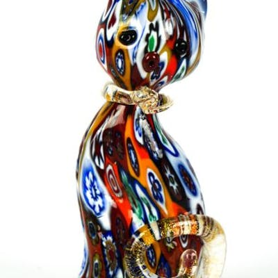 Livio Campanella Murano Millefiori Murrina Cat Sculpture Glass Barnebys