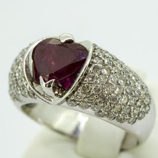 18 kt. White gold - Ring - 2.12 ct Diamond - Ruby