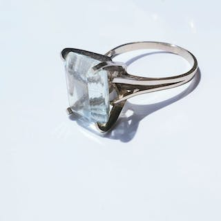 Ancienne solitaire Cocktail - 18 kt Weißgold - Ring