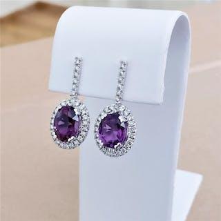 18 kt. White gold - Earrings - 6.00 ct Amethyst - Diamonds
