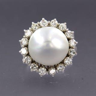 18 kt. White gold - Ring - 1.00 ct Diamond - Diamond