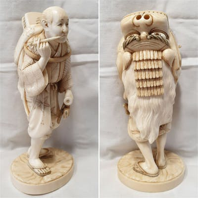 Okimono (1) - Avorio di elefante - Danzatore di...