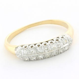 14 kt. White gold, Yellow gold - Antique Ring - 0.20 ct Diamond