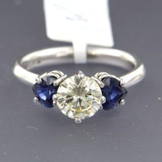 chris soomers - pt950 Platinum - Ring - 1.55 ct Diamond - Sapphire