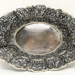 Extraordinary Perforated Silver Basket - .800 silver...