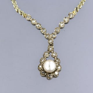 14 kt. White gold, Yellow gold - Necklace - 0.20 ct Diamond - Pearl