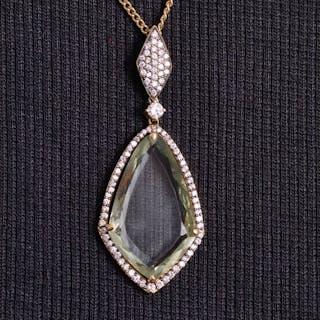 18 kt Gold - Halskette Grüner Quarz - Diamanten