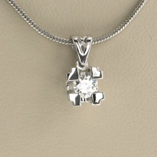 14 kt. White gold - Necklace with pendant - 0.20 ct Diamond