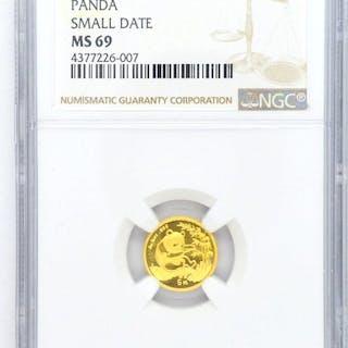 China - 5 Yuan 1994 'Panda' Small Date - Gold
