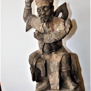 statue of Zhong kul Yuanbao - Wood - China - Early 20th century
