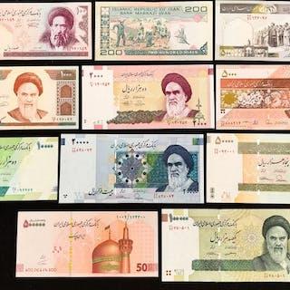 Iran - 100 - 500.000 Rial 1982/2018 - Pick between 136-159 (11 banknotes)