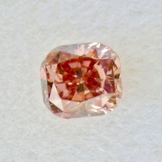 1 pcs Diamant - 0.12 ct - Coussin - fancy brownish orangy pink - SI1