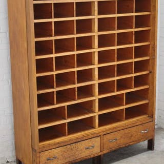 Very large, wooden factory cupboard / post cupboard