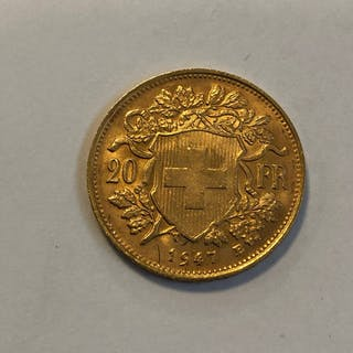 Switzerland - 20 Francs 1947 Vreneli / Helvetia- Gold