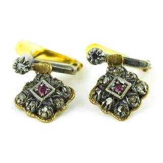 Antique- 19,2 kt. Silver, Yellow gold - Earrings Ruby - Diamonds
