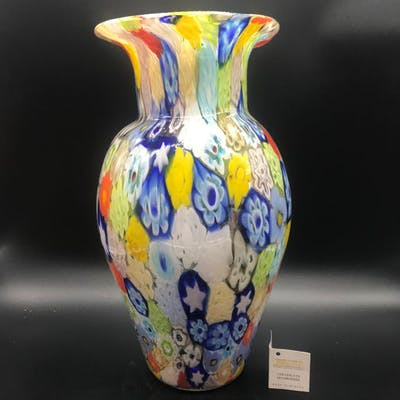 Vaso, vaso  grande murrina millefiori 30cm - Vetro