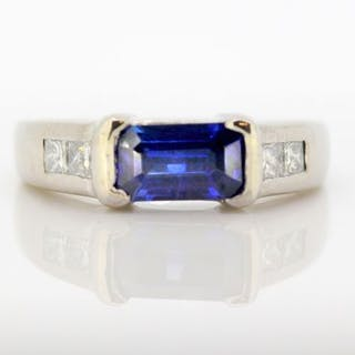 18 kt. White gold - Ring Sapphire