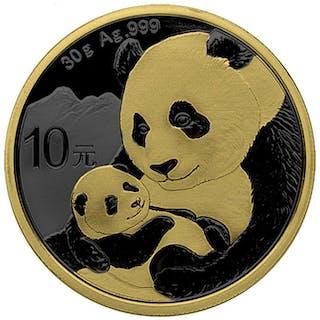 China - 10 Yuan 2019 China Panda Golden Ring Ruthenium...