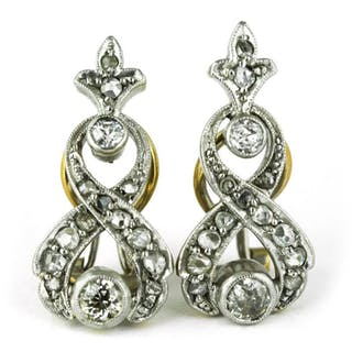 Authentic Antique - 18 kt. White gold, Yellow gold - Earrings Diamond