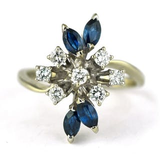 Exclusive - 18 kt. White gold - Ring Diamond - Sapphire