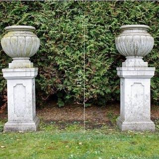 Pair of Garden Vases / Jardinieres - Granite - First half 20th century