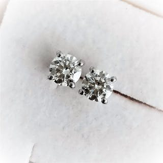 18 quilates Oro blanco - Pendientes - 0.67 ct Diamante
