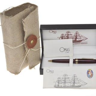 Omas - Omas A. Vespucci L.E. 1990 red briarwood ballpoint pen, new in box