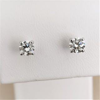 18 kt. White gold - Earrings - 0.76 ct Diamond
