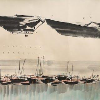 Bildrolle - Reispapier - In style of Wu Guanzhong - China - Zweite Hälfte des 20