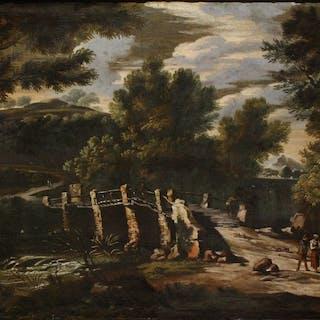 Scuola napoletana - Anonimo- Paesaggio Fluviale con figure